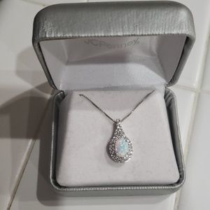 Opal and White Sapphire Necklace